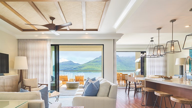 Timbers Kauai's residences feature full kitchens, dining and living areas and sweeping views.