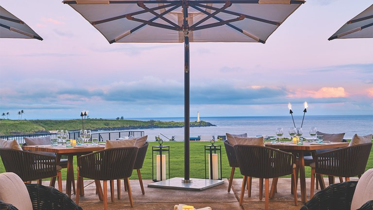 Hualani's restaurant serves not only exceptional farm-to-table cuisine, but also beautiful views.