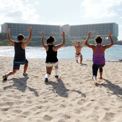 Turtle Bay offers Wet Sweat, a high-energy exercise class held on the beach. // © 2013 Turtle Bay Resort