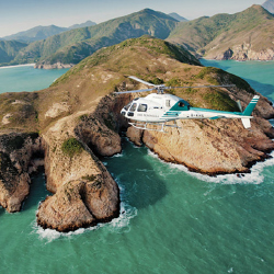 Climb onboard Peninsula Hong Kong hotel's helicopter for a bird's-eye view of Hong Kong Global Geopark. // © 2014 The Peninsula Hotels