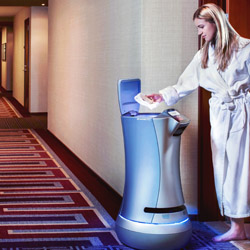 <p>Instead of tipping, some hotels' robots are asking you to tweet after they deliver amenities. // © 2015 Savioke</p><p>Feature image (above):...