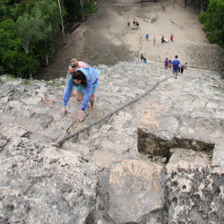 <p>For now, Coba visitors are still permitted to climb to the top of the site's nearly 140-foot pyramid. // © 2015 Megan Leader</p><p>Feature image...