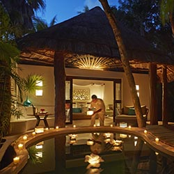 "<p>Viceroy Riviera Maya, a beachside adults-only hotel, offers butler service and a romantic ""aphrodisiac shower experience."" // © 2017 Viceroy..."