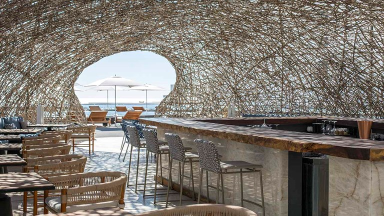 Viceroy Los Cabos' Nido Cevicheria + Bar serves both as an architectural showpiece and sophisticated ceviche bar in the evening.