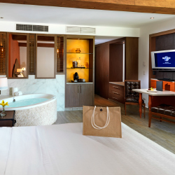 <p>Deluxe Rooms are equipped with Jacuzzi tubs. // © 2014 Hard Rock Hotel Riviera Maya</p><p>Feature image (above): Some rooms offer expansive sky...