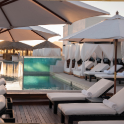 The rooftop pool is surrounded by Bali daybeds. // © 2014 Hotel El Ganzo