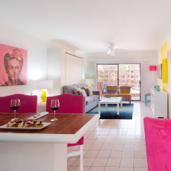 <p>A bold color palette and pop-culture-inspired artwork liven up all suites. // © 2015 Villa del Palmar Beach Resort & Spa</p><p>Feature image...