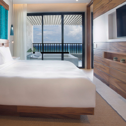 <p>Many of the property's guestrooms feature ocean views. // © 2016 Grand Hyatt Playa Del Carmen Resort</p><p>Feature image (above): The resort is...