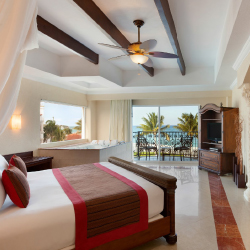 <p>A Royal Master one-bedroom oceanfront suite // © 2016 The Royal Playa del Carmen</p><p>Feature image (above): Guests can lounge on-site, then head...