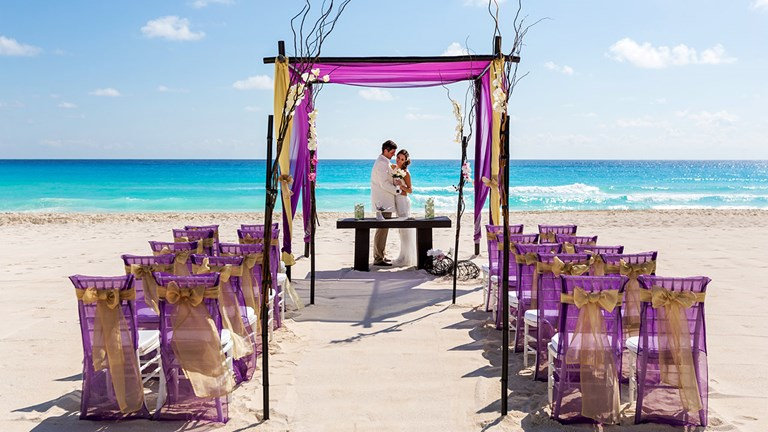 One of the many themes for a beachfront wedding at Moon Palace Cancun