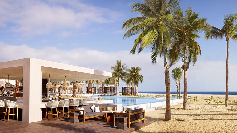 Nobu Hotel Los Cabos has four pools on property, each with stunning views.