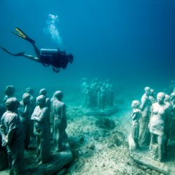 Replicas of the Underwater Museum's artwork are on display at a new visitors center. // © 2013 Jason de Caires Taylor