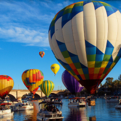 <p>The third place winner of our reader photo contest, Becky McGuire, photographed the Lake Havasu Balloon Festival in Arizona. // © 2015 Becky...