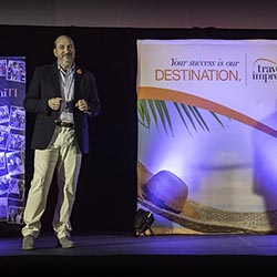 <p>Travel Impressions president Scott Wiseman at the opening session of Travel Impressions' 2017 edition of the Best of the Best conference. // © 2017...