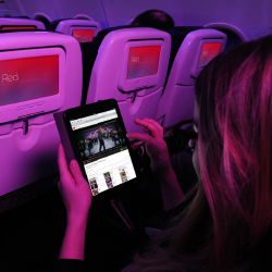 Virgin America's new Wi-Fi system allows fliers to stream YouTube. // © 2015 Virgin America