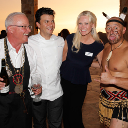 From left: Eddie Osterland, John Suley, Celebrity Cruises' Cynthia Rose and a New Zealand dancer // © 2013