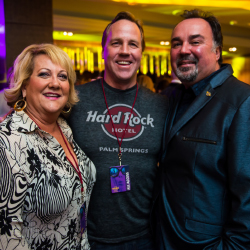From left: Shelly Saunders; Steve Pougnet, the mayor of Palm Springs; and Hector Moreno, general manager of the hotel // © 2014 Hard Rock Cafe...