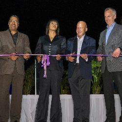 From left: Wykeham McNeill, Portia Simpson Miller, Carl Hendriks and Bruce Wardinski at the ribbon-cutting ceremony for Hyatt Ziva and Zilara Rose...