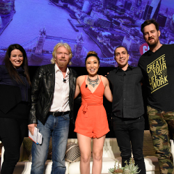 From left: Panel moderator Carol Roth with participants Richard Branson, Cassey Ho, Sean Rad and Miguel McKelvey // © 2016 Virgin Atlantic