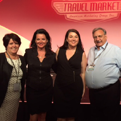 From left: Executives Anne Marie Moebes, Kathryn Mazza-Burney, Nicole Mazza and Rick Mazza at AMG's Travel Market 2016 // © 2016 TravelSavers