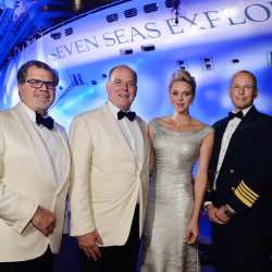 From left: Norwegian Cruise Line Holdings president and CEO Frank Del Rio; Prince Albert of Monaco; Princess Charlene of Monaco; captain Stanislas...