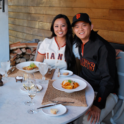 Thuy Thi Le and her boyfriend Kim Dang enjoy lunch at the luxury Huka Lodge near Taupo, New Zealand. // © Air New Zealand