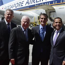 L.A. Mayor Eric Garcetti with former mayors Kenneth Hahn, Richard Riordan and Antonio Villaraigosa. // © 2013 Jay Berkowitz/LAWA