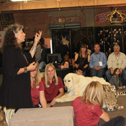 Attendees at the Meetah Cheetah event met Dr. Laurie Marker and an ambassador cheetah from the San Diego Zoo Safari Park. // © 2014 Infinite Safari...