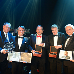 <p>From left: Alain Delamuraz of Blancpain, Anrea Kracht of Baur au Lac, Ernst A. Scherz of Gstaad Palace, Jean Jacques Gauer of Lausanne Palace &...