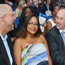 Senator Skerritt, Elena Skerritt and Colm Lacy of British Airways chat at the St. Kitts Tourism Experience Awards. // © 2013 St. Kitts Tourism...