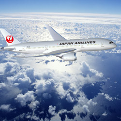 Boeing 787 Dreamliner offers an improved flight experience with a roomier cabin and new tech features. // © 2015 Japan Airlines