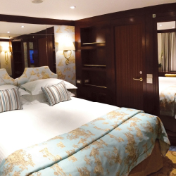 All of Queen Isabel's staterooms are outside and offer special amenities for guests. // © 2014 Uniworld Boutique River Cruise Collection