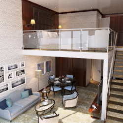 <p>Loft suites onboard American Duchess feature two floors. // © 2017 American Queen Steamboat Company</p><p>Feature image (above): The 166-passenger...