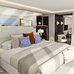 <p>Crystal's river cruise ships will carry 140 passengers in 250-square-foot suites. // © 2015 Crystal Cruises</p><p>Feature image (above): Crystal...