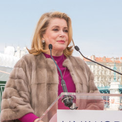 Actress Catherine Deneuve was recently named the godmother of Uniworld Boutique River Cruise Collection's S.S. Catherine. // © 2014 Uniworld