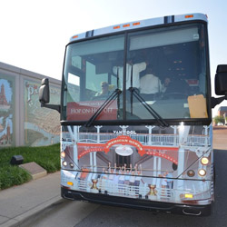<p>American Queen Steamboat Company guests can explore port cities via a hop-on, hop-off bus. // © 2014 American Queen Steamboat Company</p><p>Feature...