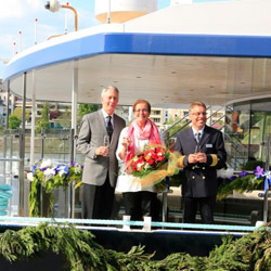 Author Patricia Schultz, godmother of the Avalon Expression, attended the ship's christening and will host a special cruise this August. // © 2014...