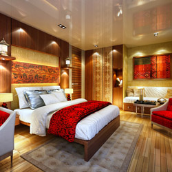 A suite onboard Sanctuary Ananda // © 2014 A&K Sanctuary Retreats