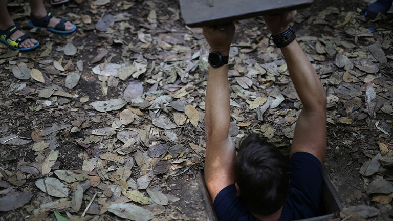 During a private tour of Cu Chi Tunnels, visitors can go underground and experience the tunnels themselves.