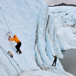 Ice climbing is not as hard as it looks and can be quickly taught by guides. // © 2014 Christopher Batin