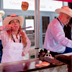 Guests can enjoy free pancake breakfasts during the Stampede. // © 2014 Calgary Stampede/ Tye Carson