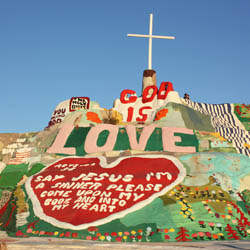 Salvation Mountain is just one of the unique desert attractions near the site of the Coachella and Stagecoach music festivals. // © 2014 Mindy Poder