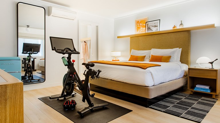 One guestroom comes equipped with a Peloton bike.