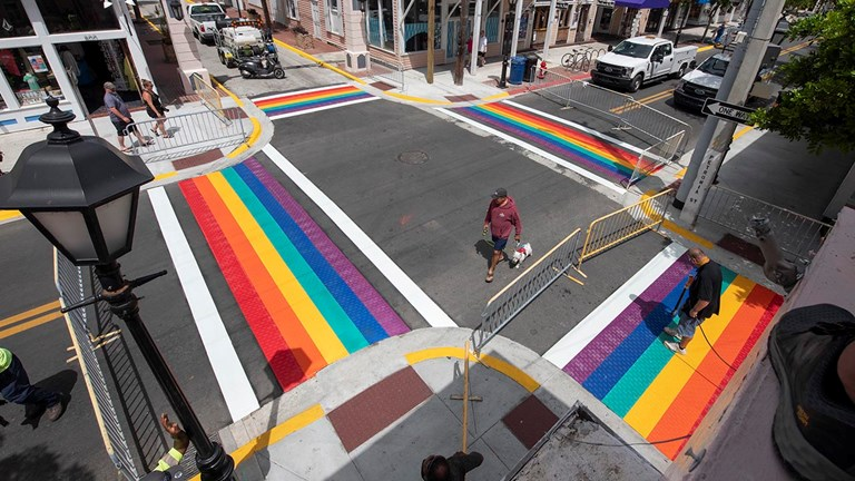 Key West features four permanent rainbow crosswalks, which were unveiled earlier this month.