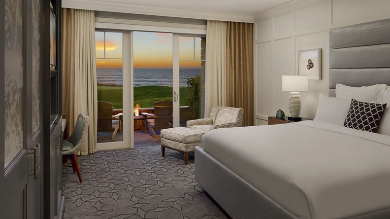 Some ocean-facing rooms at The Ritz-Carlton, Half Moon Bay have terraces complete with fire pits.