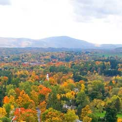 The view from the top of Bennington Monument in Bennington, Vermont makes for a colorful photo op. // © 2013 Vermont Department of Tourism &...