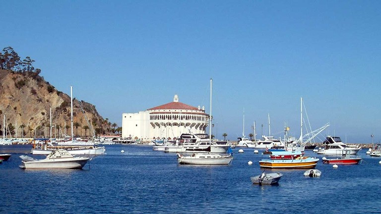 Catalina Casino Island is the most visible landmark in Avalon Bay.