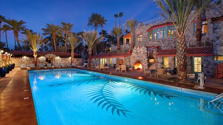 The Inn at Death Valley's natural spring-fed pool is kept at a temperature of 87 degrees.