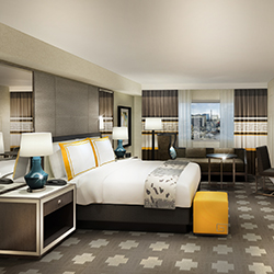 <p>A bedroom rendering of the new Julius Tower at  Caesars Palace Las Vegas // © 2016 Caesars Entertainment</p><p>Feature image (above): Bottles of...