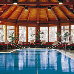 <p>Mohonk Mountain House's heated indoor pool // © 2016 Mohonk Mountain House/Jim Smith</p><p>Feature image (above): Located in New York's Hudson...
